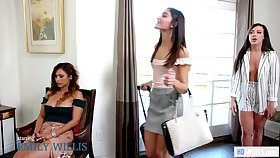 Lesbian Couple Invites spying Nosy Rosie to join them