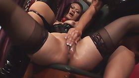 Chained up girl is beast driven by two lesbian chicks