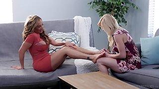 Krissy Lynn licks Serene Siren's shaved pussy like bantam one up ahead