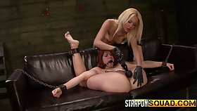 Horny mistress with strapon fucks deep throat added to wet pussy of red head Rose Red Tyrell
