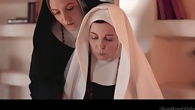 Two sinful mature nuns are licking coupled with munching each others pussies