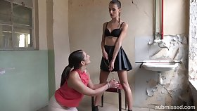 Skinny Czech mistress Adelle Unicorn is punishing cunt of one submissive chick