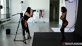 Erotic photo shooting with lesbians Alina Lopez together with Demi Sutra