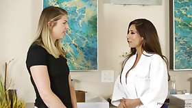 Reena Sky and Akarra are coitus in a massage room, in the middle be advisable for the day