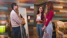 Twp popular college chicks fuck nerdy brunette in glasses