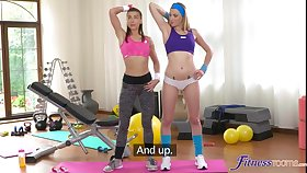 Amateur lesbian sexual intercourse on chum around with annoy gym surprise with yoke stunning models