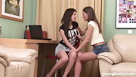 Two lovely student girls are make mincemeat of every others pussies for the first time