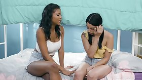 Girl on girl fucking on the sofa with sluts Nia Nacci and Vanessa Ambiance