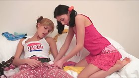 Slutty natural blonde and brunette flash nice tits and hoax relative to toy